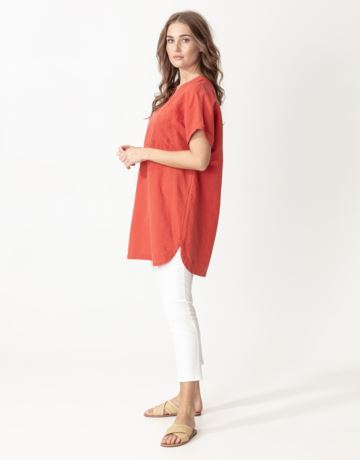 Linen mix embroidered tunic