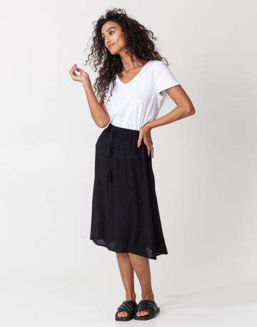 Solid midi skirt with tassels