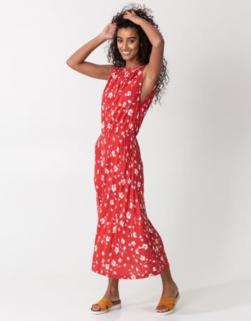 Floral braid collar maxi dress