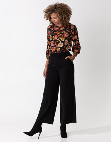 High rise solid wide pants