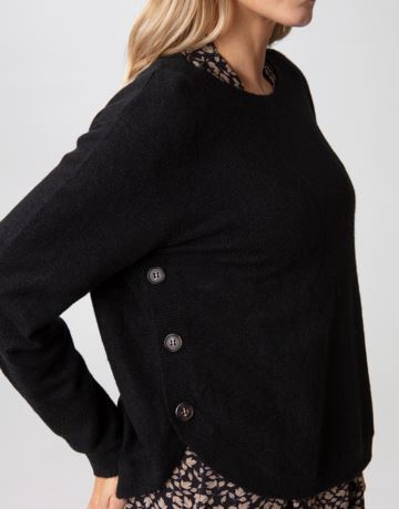Side button knitted sweater