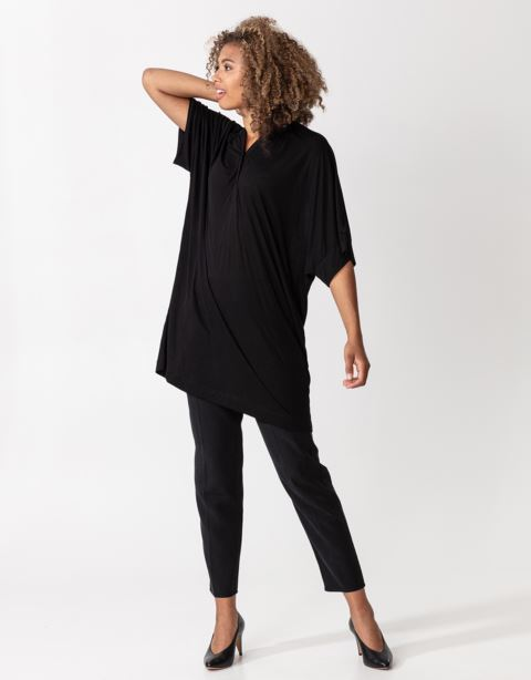 Buttoned solid jersey tunic