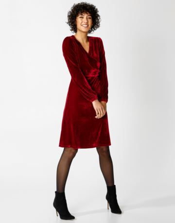Solid velvet wrap dress