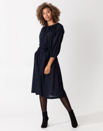 Solid cotton dobby dress