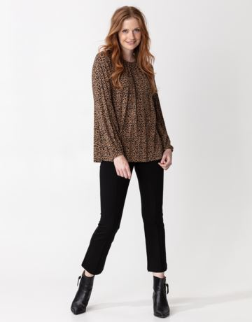 Patterned long sleeve jersey top