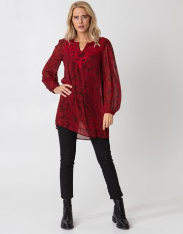 Patterned v-neck embroidered tunic