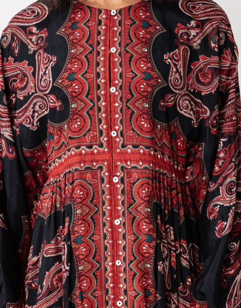 Paisley tunic with buttons