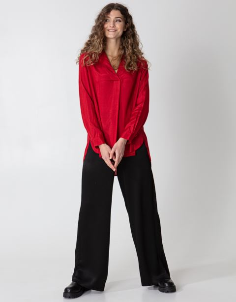 V-neck silky solid blouse