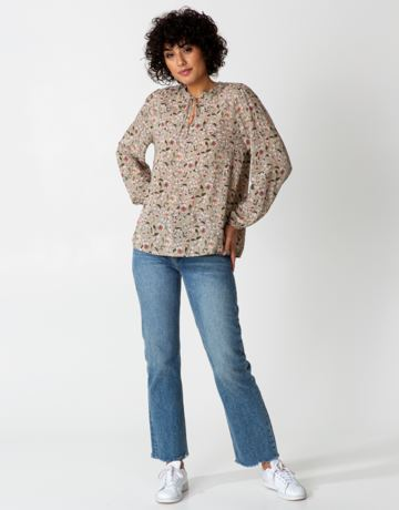 Floral neck tie band blouse