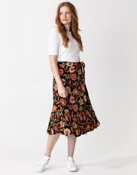 Floral waist tie band skirt