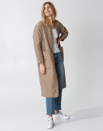 Beige long quilted coat