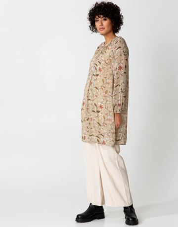 Floral buttoned sheer tunic