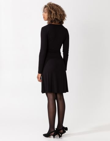 Solid long sleeve jersey wrap dress