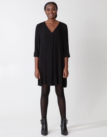 Solid black v-neck tunic