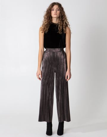 Shimmering pleated wide pants