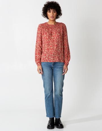 Long sleeve floral smock blouse