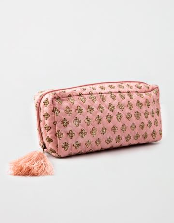 Patterned tassel makeup bag