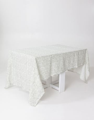 Leaf print linen tablecloth