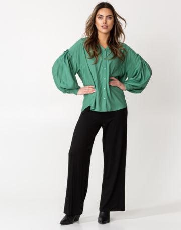 Solid loose balloon sleeve blouse