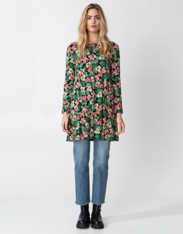 Floral long sleeve jersey tunic