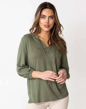 Solid long sleeve jersey blouse