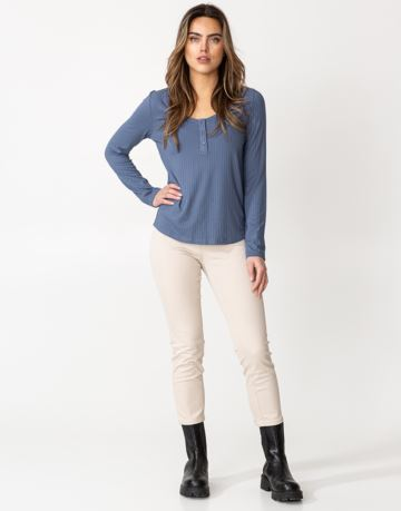Solid long sleeve jersey rib top