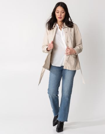Waist tie cotton jacket