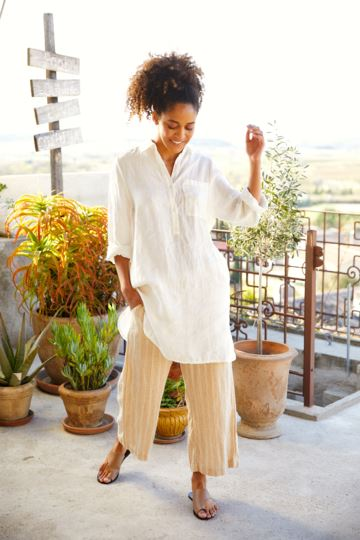White long linen shirt