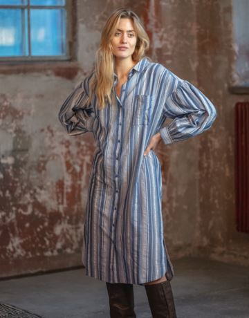 Striped organic cotton shirt dress