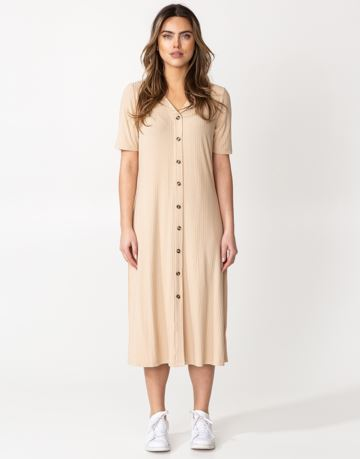Button-down rib jersey dress