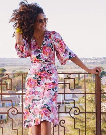 Floral waist tie wrap dress