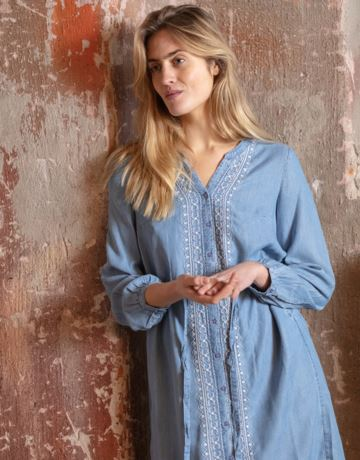 Light blue embroided tunic